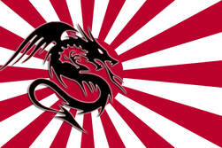 Immortal Dragon Martial Arts logo showing a black dragon on top of a red Japanese-style sunburst