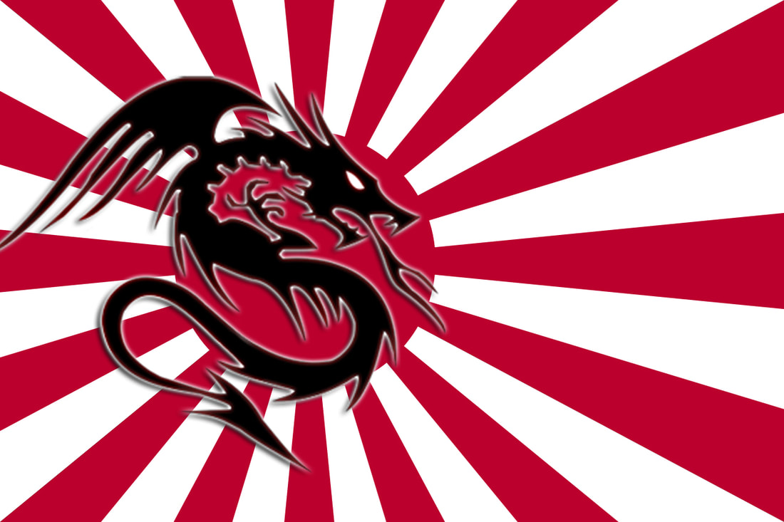 Japanese red rising sun with a Japanese black dragon on top
